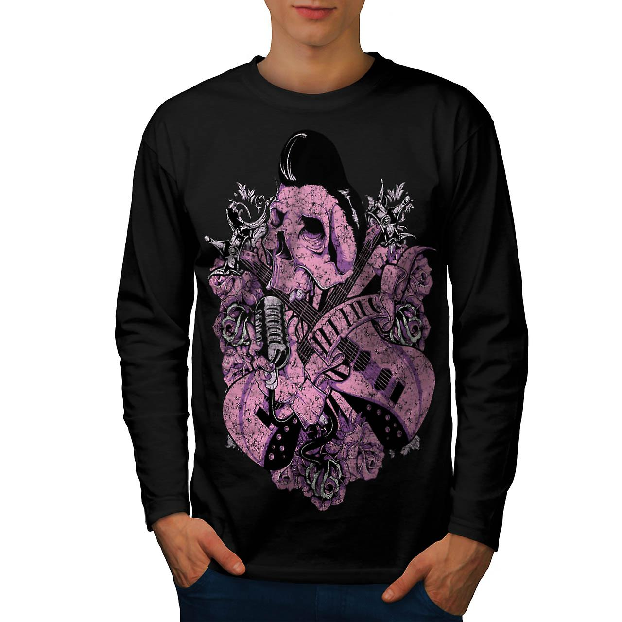 Music Guitar Skull Acoustic Song Men Black Long Sleeve T-shirt | Wellcoda