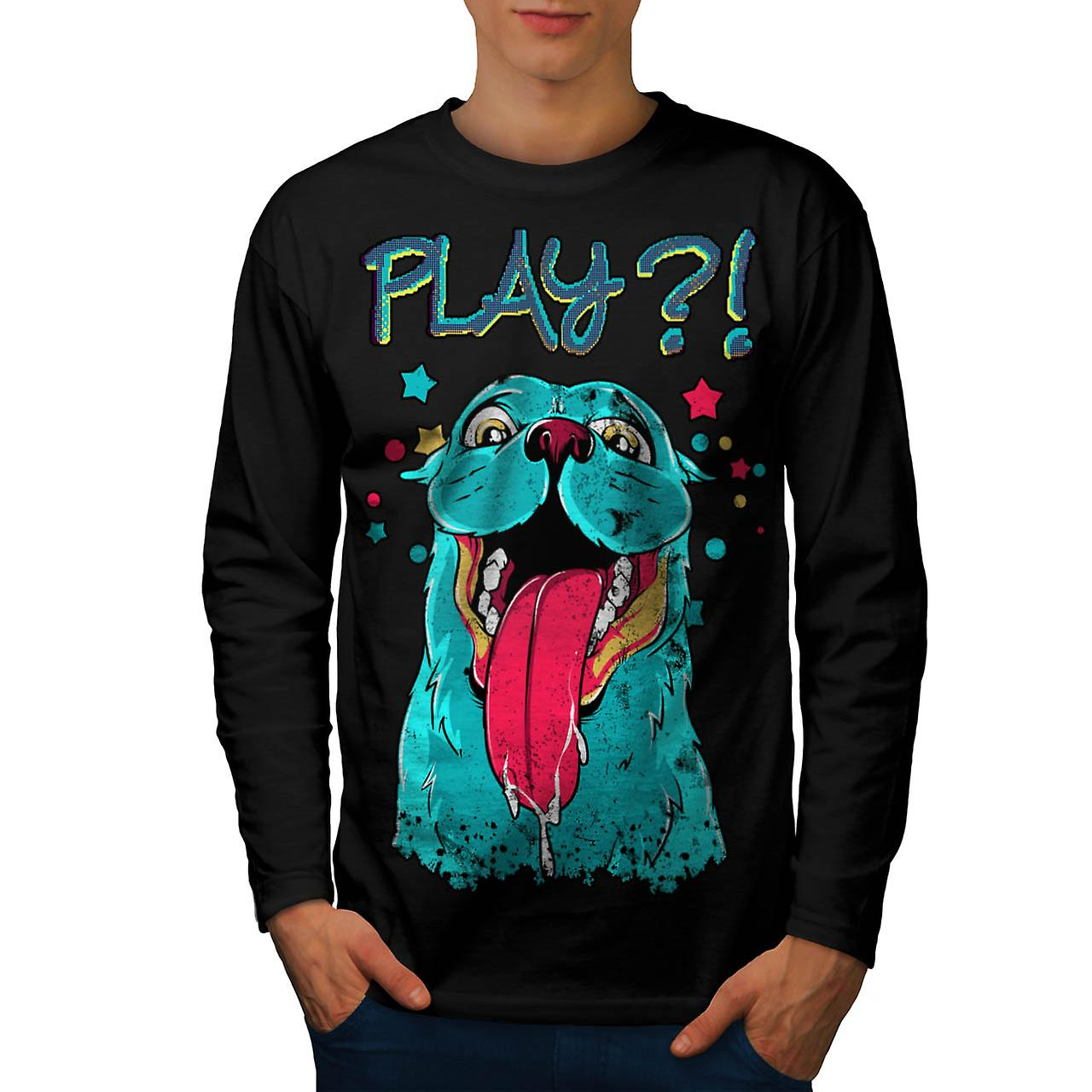Play Cute Beast Animal Men Black Long Sleeve T-shirt | Wellcoda