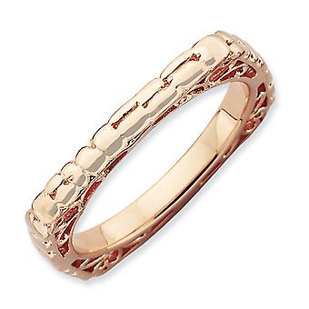 2.25mm Sterling Silver Stackable Expressions Polished Pink-plate Square Ring - Ring Size: 5 to 9