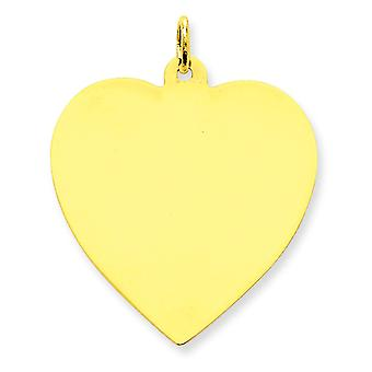 14k Yellow Gold Solid Polished Engravable Plain .018 Gauge Engraveable Heart Disc Charm - 4.3 Grams
