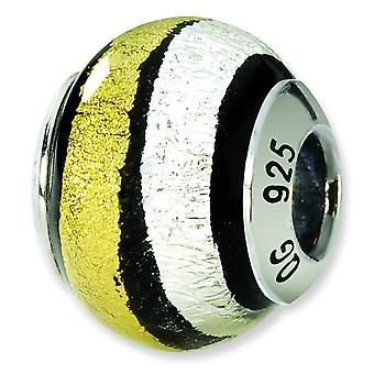 Sterling Silver Reflections Silver Gold Black Italian Murano Bead Charm