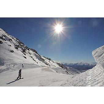 Remarkables Ski området Queenstown Sydön nya Zeeland affisch Skriv av Douglas Peebles