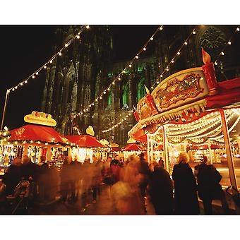 Cologne Cathedral And Christmas Market PosterPrint