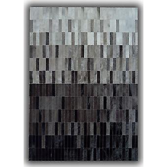 Rugs -Patchwork Leather Strips Cowhide - Degradada Grey