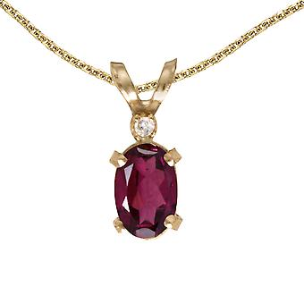 10k Yellow Gold Oval Rhodolite Garnet And Diamond Filagree Pendant with 16
