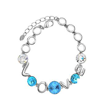 Platinum Plated Swarovski Elements L-O-V-E Bracelet, 19.5cm
