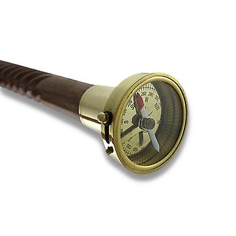 Spiral Shaft Wooden Walking Stick with Brass Compass Handle 34 In.