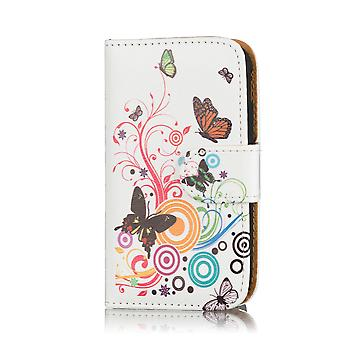 Design book wallet case for Alcatel Pixi 3 (4.5 inch) - Colour Butterfly