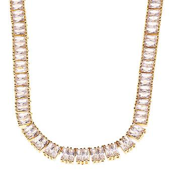 Iced Out Bling BAGUETTE ZIRKONIA Kette - 90cm gold