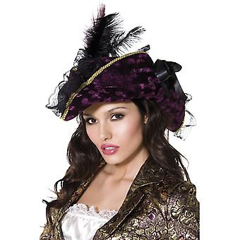 Fever collection marauding Pirate hat purple feather and band