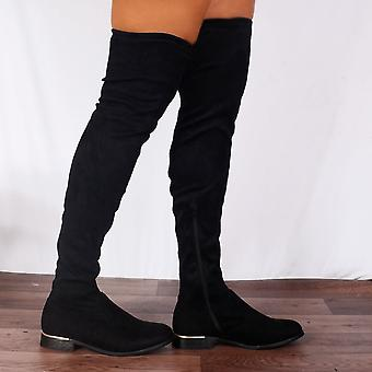 Shoe Closet Ladies Black Lauren Thigh High Over The Knee Stretch Flat Boots