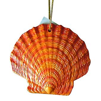 Tropical Beach Seashell Christmas Ornament rødlig Orange ORNShell07