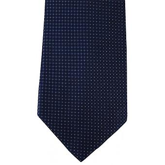 David Van Hagen Ribbed Squares Pin Dot Tie - Navy