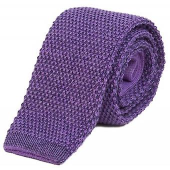 40 Colori Double Threaded Wool and Cotton Knitted Tie - Violet/Dark Blue
