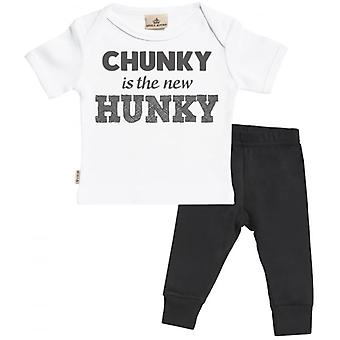 Spoilt Rotten Chunky New Hunky Baby T-Shirt & Baby Jersey Trousers Outfit Set