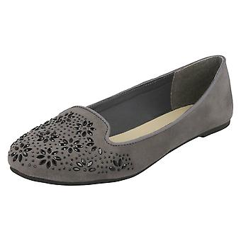 Ladies Spot On Flat Slipper Cut Ballerinas F80305
