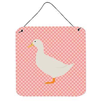 American Pekin Duck Pink Check Wall or Door Hanging Prints