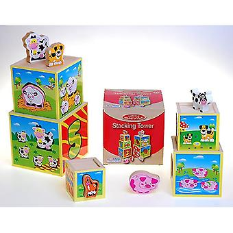 Ackerman Traditional Wood n Fun Farm Animal Stacking Tower 3yrs+