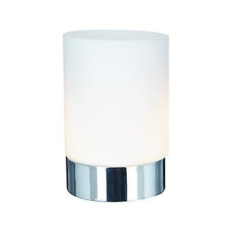 Chrome Cylinder Touch Table Lamp with Opal Glass - Searchlight 9791CC