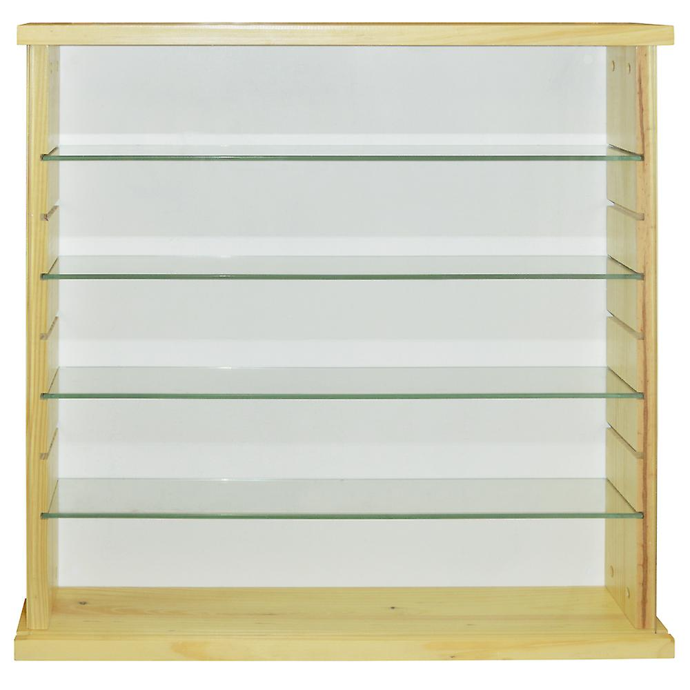 Exhibit - Solid Wood 4 Shelf Glass Wall Display Cabinet - Natural Pine
