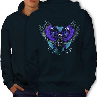 Eagle Triangle Men NavyHoodie Back | Wellcoda