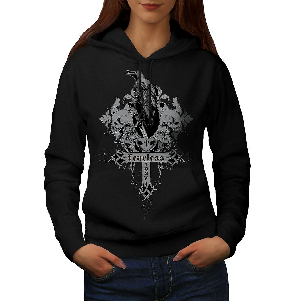 Fearless Death Crow Women Black Hoodie | Wellcoda