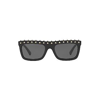 Valentino Studded Brow Sunglasses In Black