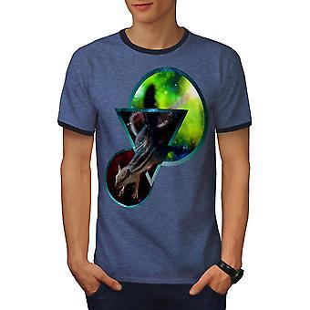 Ruimte abstracte kunst mannen Heather blauw / NavyRinger T-shirt | Wellcoda