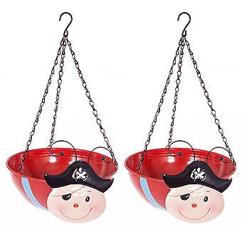 Pair PIRATE Wobblehead Metal Hanging Baskets 11' 27cm diameter