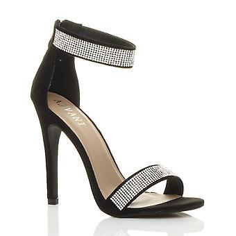 Ajvani kvinnors högklackade strappy diamante knappt där sandaler skor på kvällen