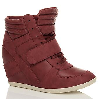 Ajvani womens hook & loop lace up strap wedge hi tops trainers ankle boots