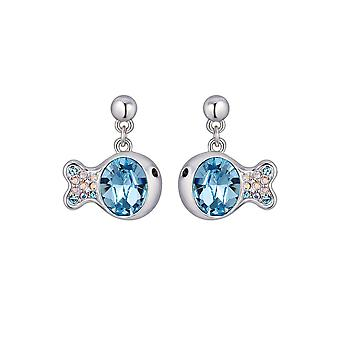 Fish plate Rhodium and Crystal from Swarovski Element Blue earrings