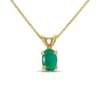 14k Yellow Gold Oval Emerald Pendant with 18