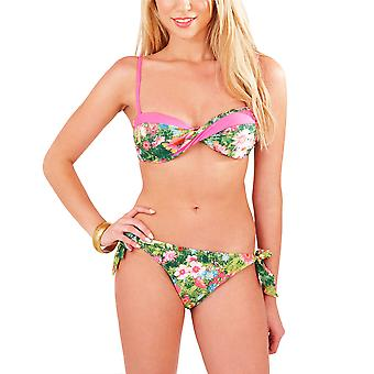 Boutique, Ladies Tropical Green Twist Bikini Set with Deatchable Straps, UK 12
