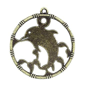 Packet 3 x Steampunk Antique Bronze Tibetan 22mm Dolphin Charm/Pendant ZX12075