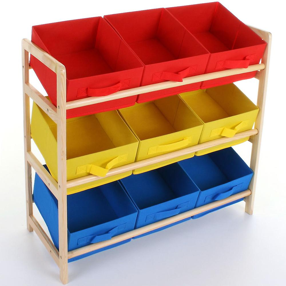 Boxes - Childrens Wood Multicoloured 3 Tier Storage 9 Box Drawer Shelves - Blue / Red / Yellow