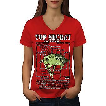 Top Secret Bug Fly Animal Women RedV-Neck T-shirt | Wellcoda