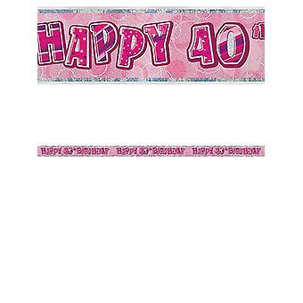 Verjaardag Glitz roze 40thverjaardag Prism Banner
