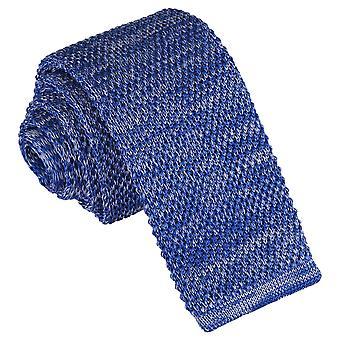 Royal Blue Melange Plain Speckled Knitted Skinny Tie