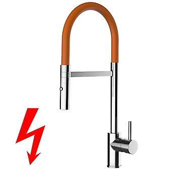 NIEDERDRUCK kitchen faucet chrome high spout swivel and 2 removable jets shower movable Orange