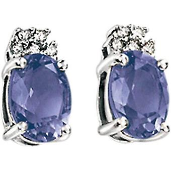 Elements Gold Kaleidoscope 9ct White Gold Iolite and Diamond Earrings - Purple/White Gold