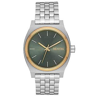 Nixon The Time Teller Medium Watch - Silver/Gold/Agave Green