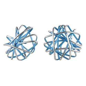 Ti2 Titanium Round Cage Chaos Stud Earrings - Sky Blue