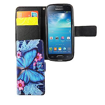 Mobile phone case pochette pour mobile Samsung Galaxy S4 mini blue butterfly