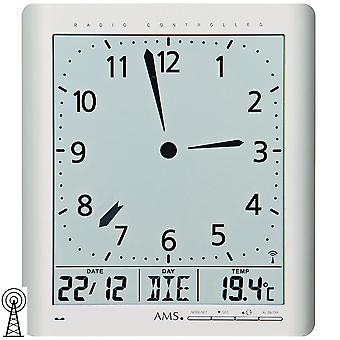 AMS 5898 wall clock clock radio silver digital date alarm thermometer