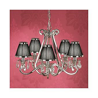 Interiors 1900 Oksana beliebte Nickel 5 Licht Kronleuchter mit 24 % Kristall