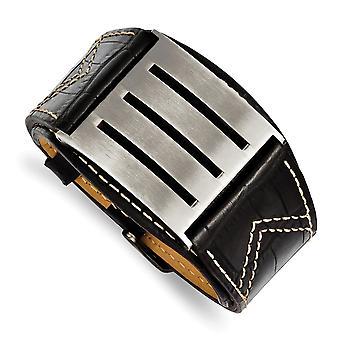 RVS geborsteld Engravable zwart leder verstelbare gesp armband - lengte: 8,25 t/m 9
