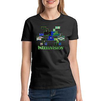 Intellivision Alien Games Collage Women's Black T-shirt