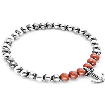 Anchor and Crew Keel Silver and Jasper Stone Bracelet - Red/Silver