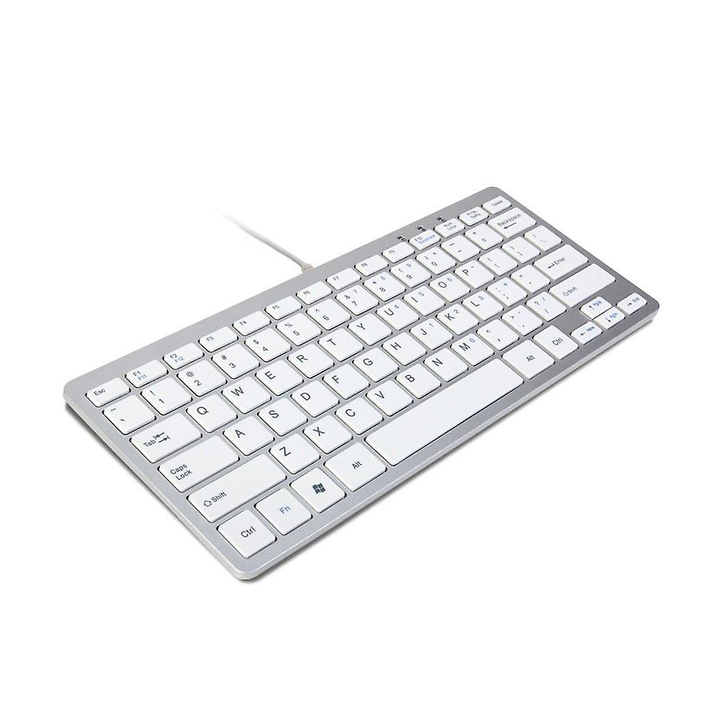 TRIXES minimale slanke Mini Wired USB Keyboard Silver & wit